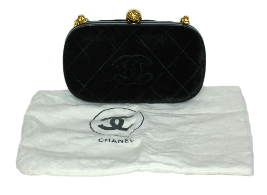 CHANEL Black Velvet Clutch with Chain image 2