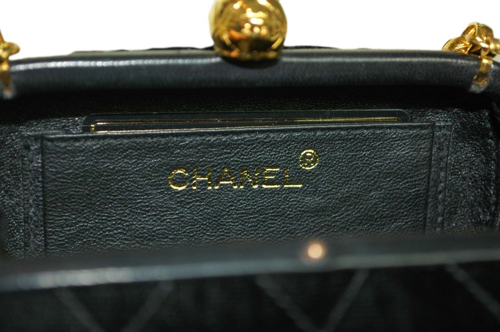 CHANEL Black Velvet Clutch with Chain For Sale 2