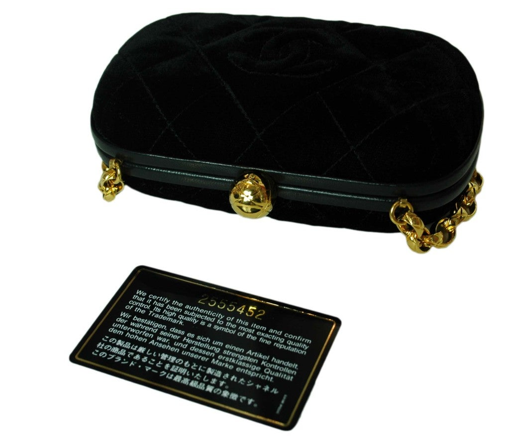 CHANEL Black Velvet Clutch with Chain For Sale 5