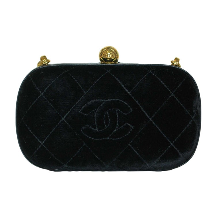 CHANEL Black Velvet Clutch with Chain For Sale