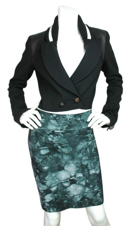 HERVE LEGER Green Tie-Dye Bandage Skirt 2