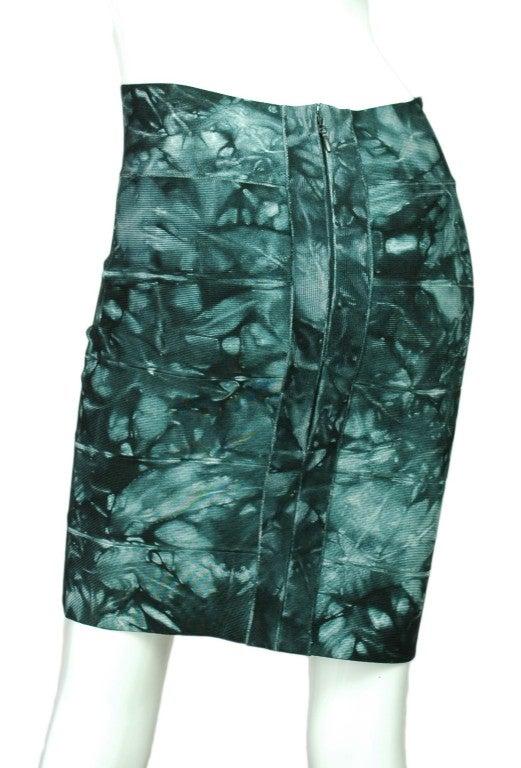 HERVE LEGER Green Tie-Dye Bandage Skirt 4