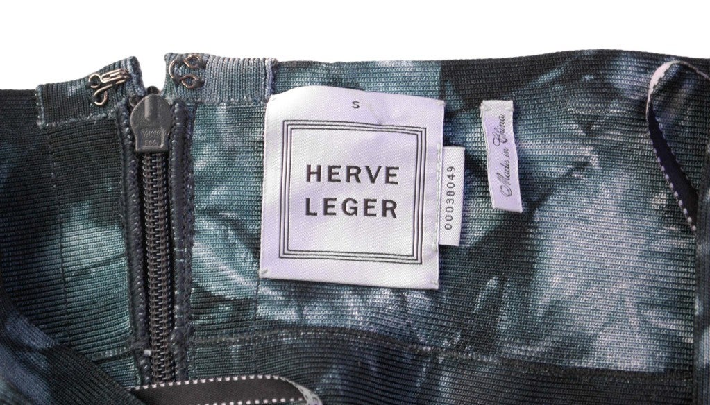 HERVE LEGER Green Tie-Dye Bandage Skirt 5