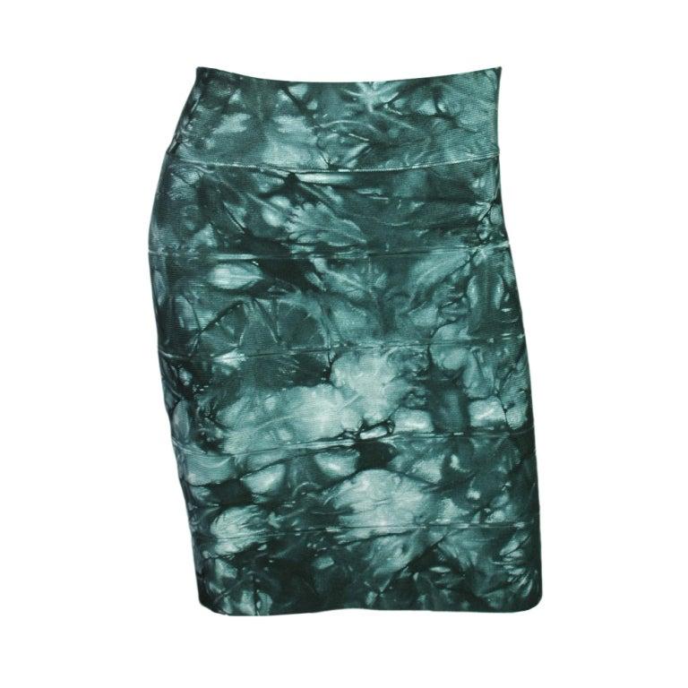 HERVE LEGER Green Tie-Dye Bandage Skirt 1