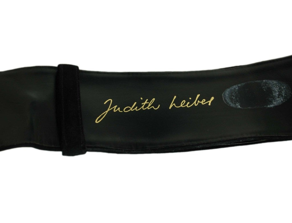 JUDITH LEIBER Black Belt with Gold Hardware at 1stdibs