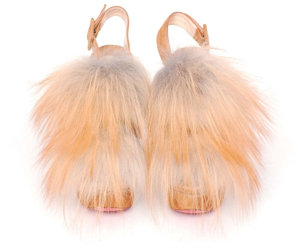 CHRISTIAN LOUBOUTIN Tan Suede Platform Heels with Fur image 2