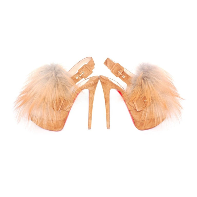 CHRISTIAN LOUBOUTIN Tan Suede Platform Heels with Fur