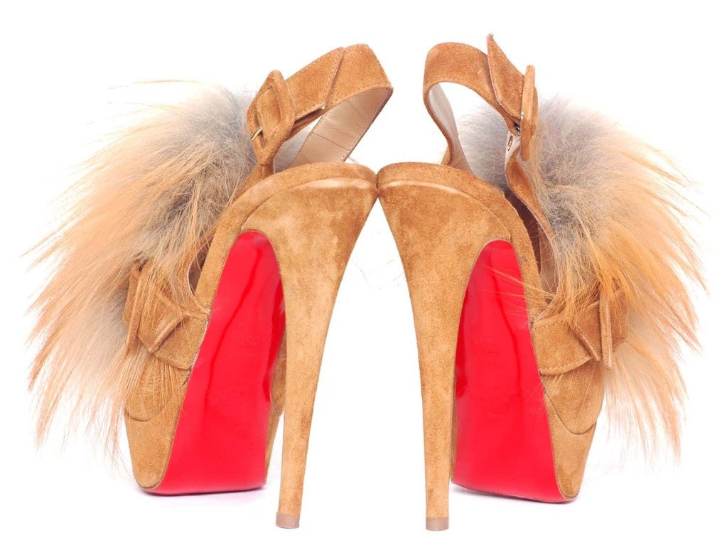 CHRISTIAN LOUBOUTIN Tan Suede Platform Heels with Fur image 3