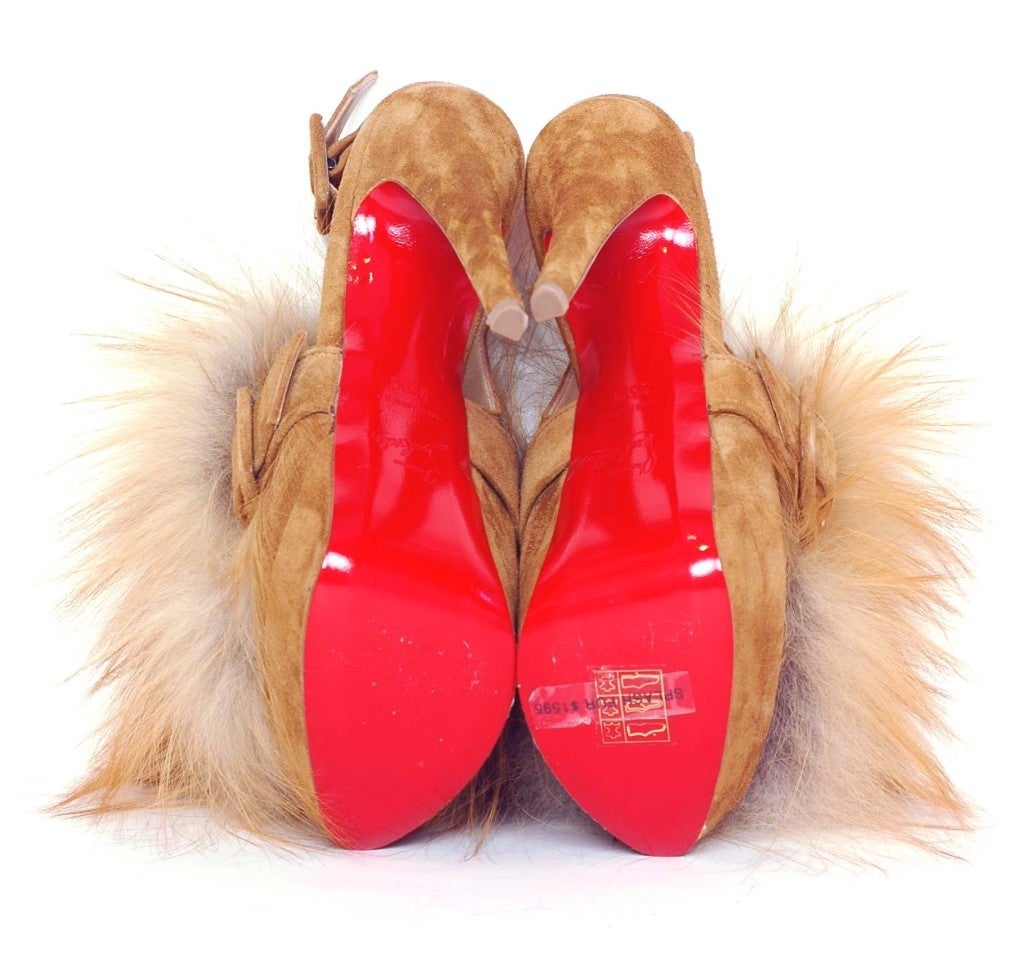 CHRISTIAN LOUBOUTIN Tan Suede Platform Heels with Fur image 4