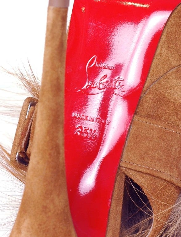 CHRISTIAN LOUBOUTIN Tan Suede Platform Heels with Fur image 5