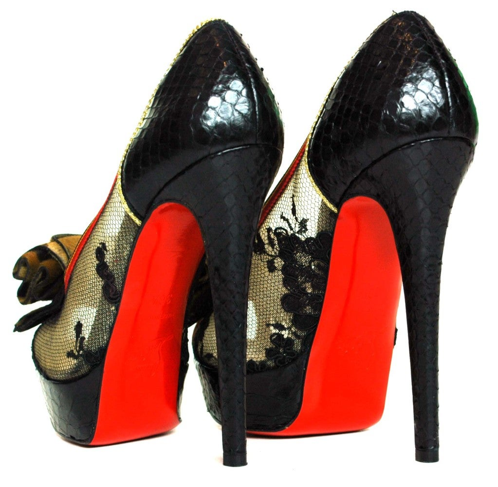 CHRISTIAN LOUBOUTIN Black Lace Shoes with Python Back & Leopard 3