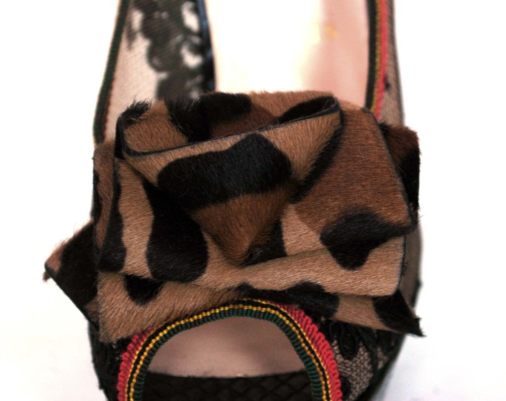CHRISTIAN LOUBOUTIN Black Lace Shoes with Python Back & Leopard 6