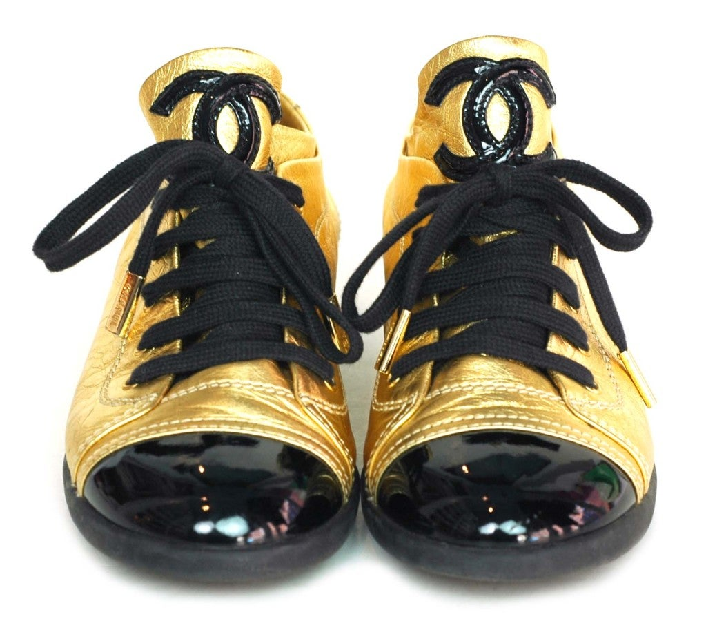 CHANEL Gold/Black Metallic Leather Shoes With Patent Trim - Size 2