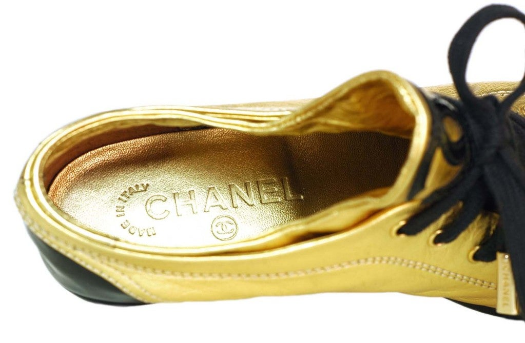 CHANEL Gold/Black Metallic Leather Shoes With Patent Trim - Size 4