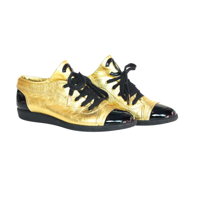 CHANEL Gold/Black Metallic Leather Shoes With Patent Trim - Size 1