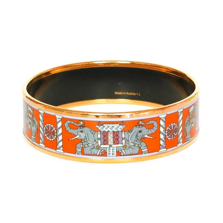 hermes orange grey elephant print enamel bangle rt 550