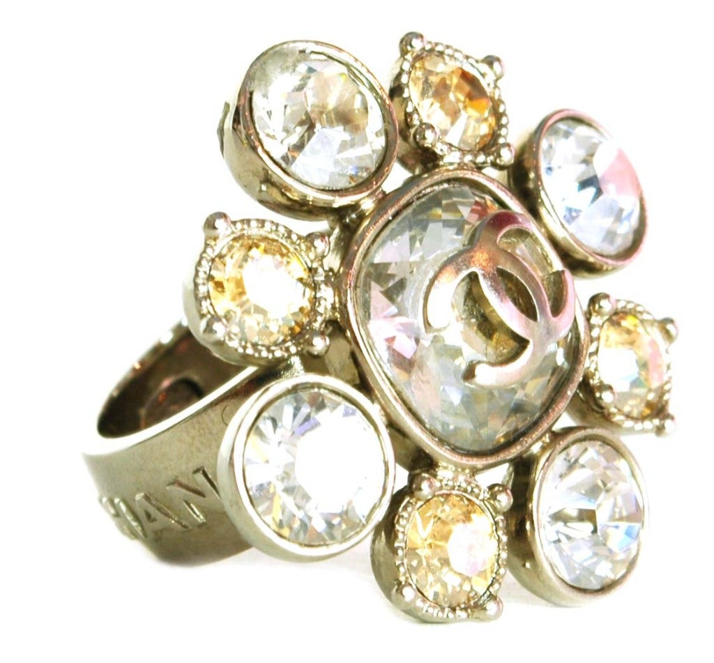 chanel gold and silver cluster ring size 6 5 at 1stdibs