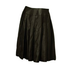 CHANEL Brown Leather Pleated Skirt Sz 40