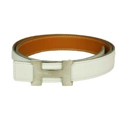 HERMES White Thin Leather Belt with Silver H Buckle