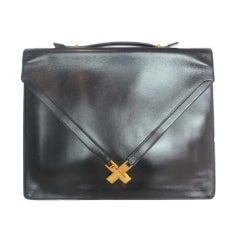 HERMES Black Box Leather Vintage Attache