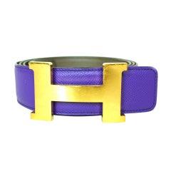 HERMES Purple Leather Constance Belt SZ - 120