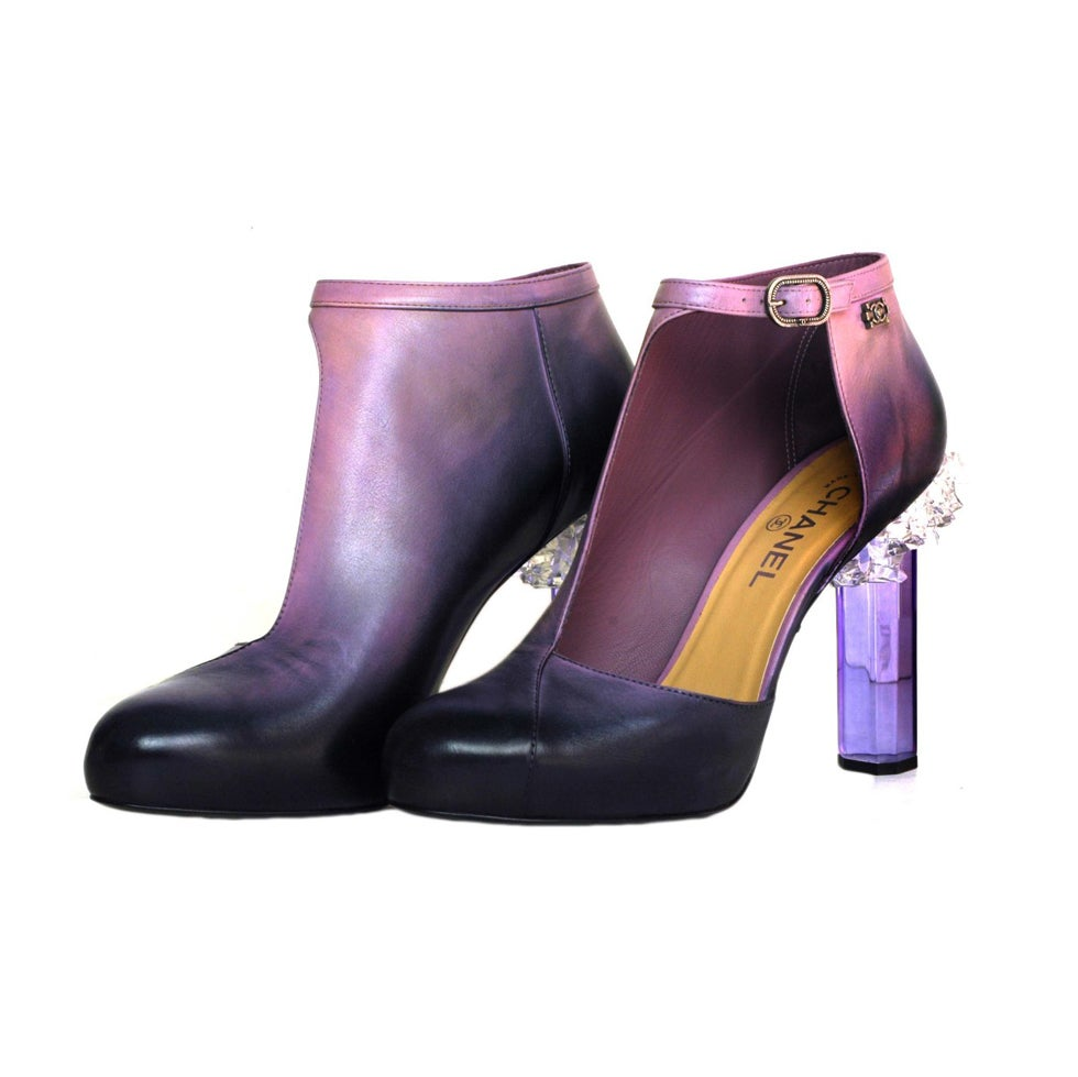 CHANEL Purple Ombre Leather Bootie Shoes with Crystal Heel sz41 1
