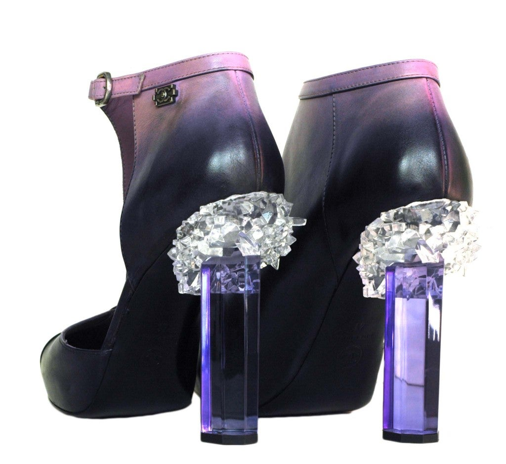 CHANEL Purple Ombre Leather Bootie Shoes with Crystal Heel sz41 3