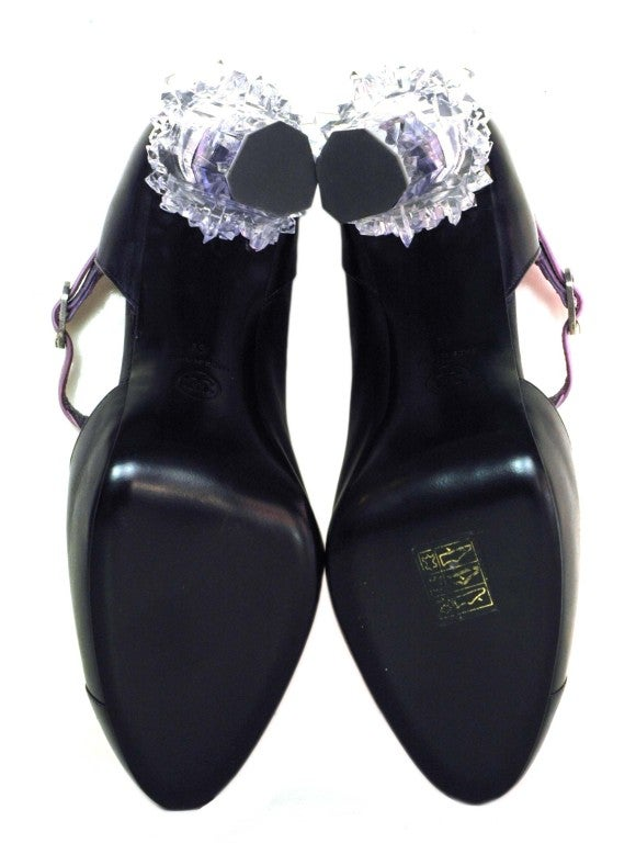 CHANEL Purple Ombre Leather Bootie Shoes with Crystal Heel sz41 5