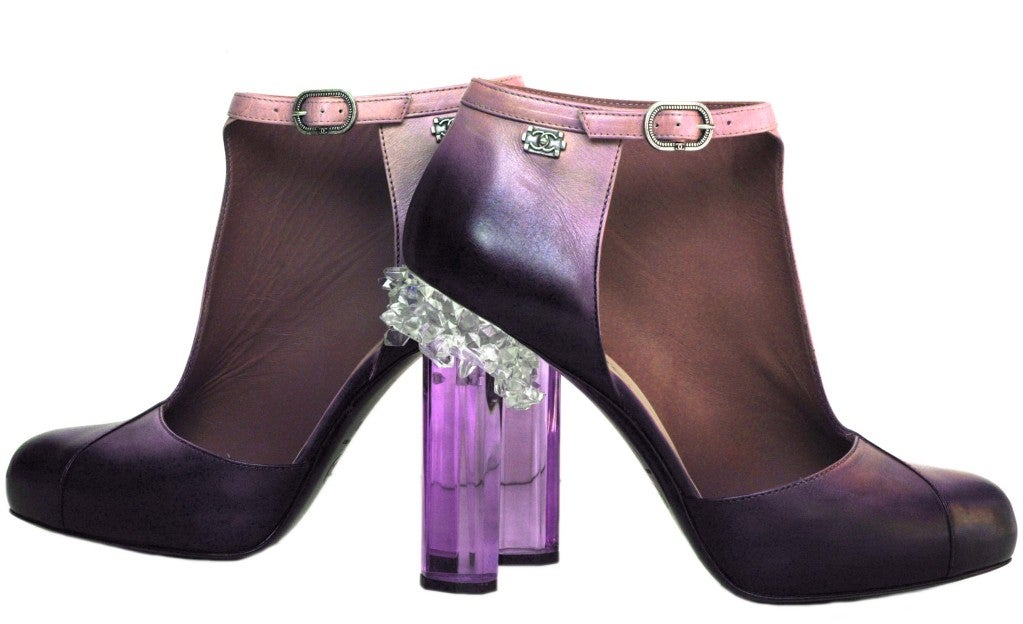 CHANEL Purple Ombre Leather Bootie Shoes with Crystal Heel sz41 7