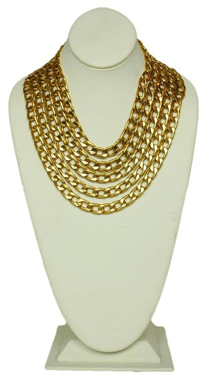 CHANEL Gold Five Row Link Chain Necklace image 2