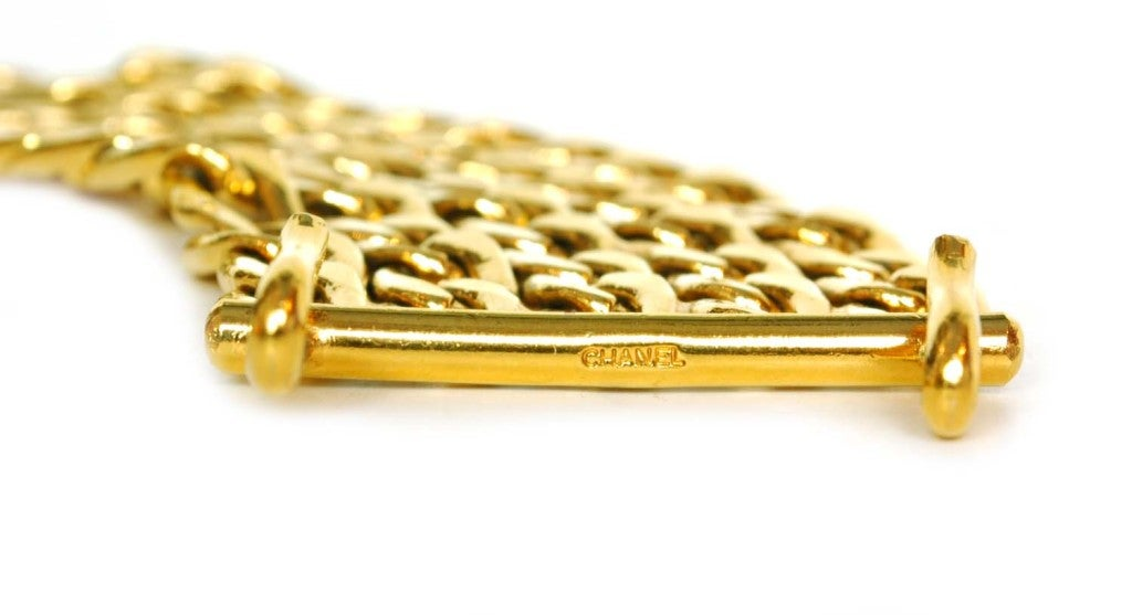 CHANEL Gold Five Row Link Chain Necklace image 4