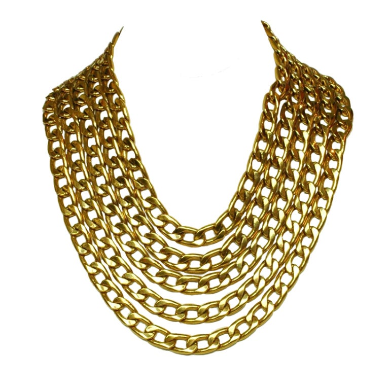 CHANEL Gold Five Row Link Chain Necklace