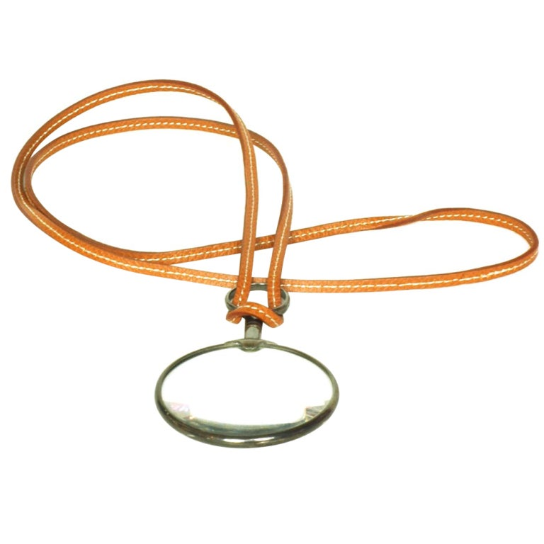 hermes brown leather necklace with magnifying glass