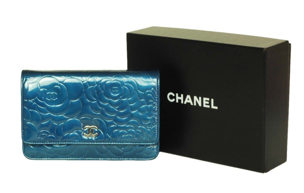 CHANEL Blue Patent Leather Camelia Wallet On A Chain 10