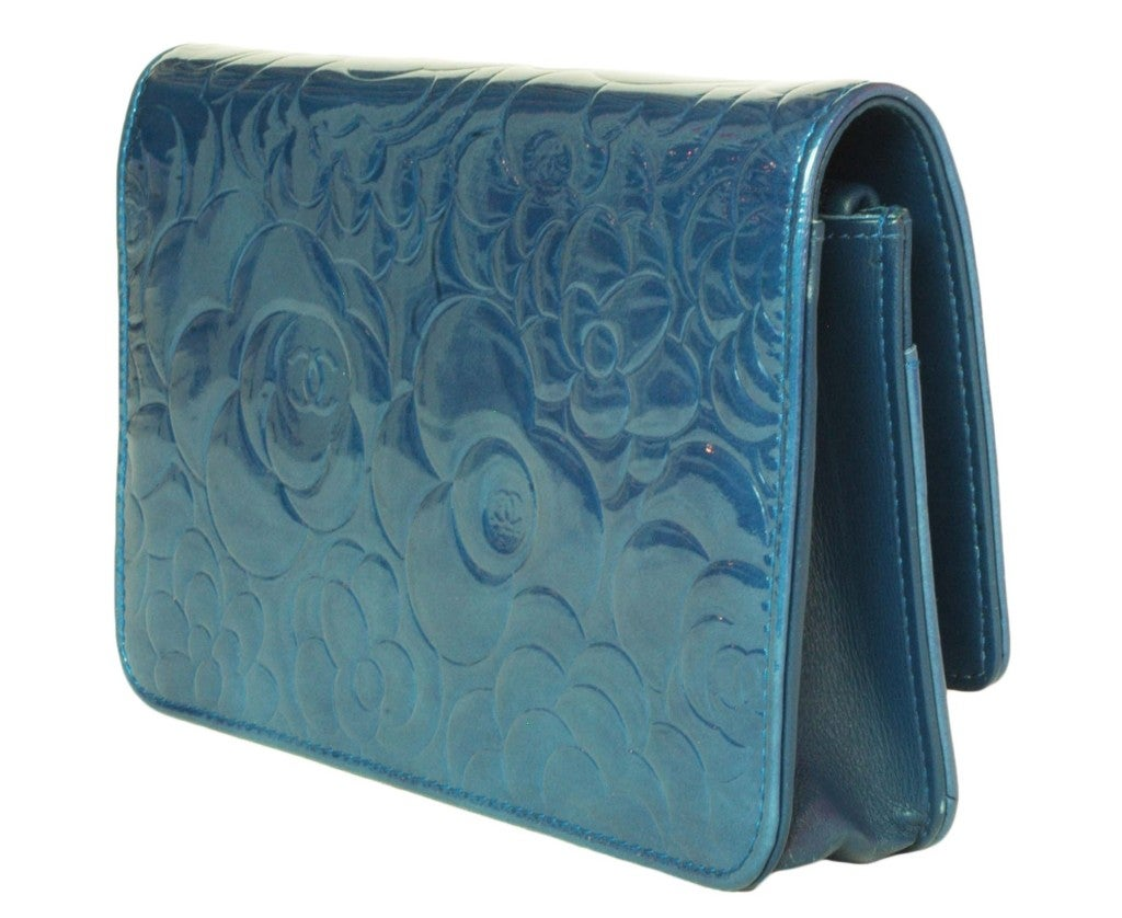 CHANEL Blue Patent Leather Camelia Wallet On A Chain 2
