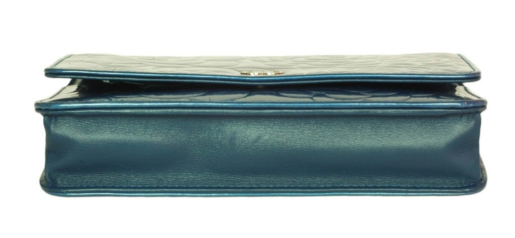 CHANEL Blue Patent Leather Camelia Wallet On A Chain 3