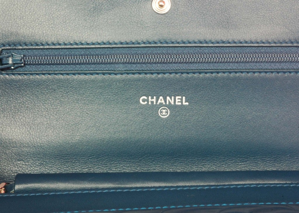 CHANEL Blue Patent Leather Camelia Wallet On A Chain 5