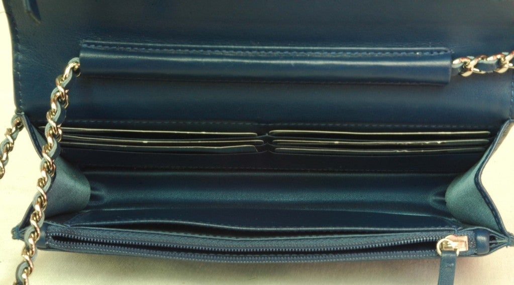 CHANEL Blue Patent Leather Camelia Wallet On A Chain 6