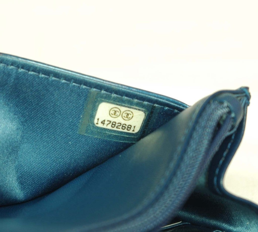 CHANEL Blue Patent Leather Camelia Wallet On A Chain 8