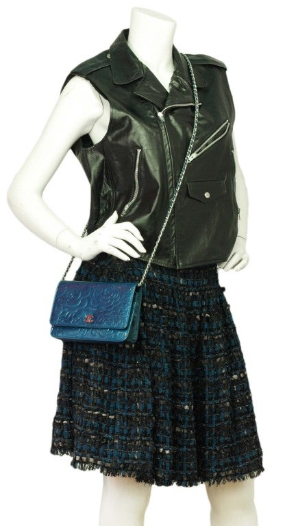 CHANEL Blue Patent Leather Camelia Wallet On A Chain 9