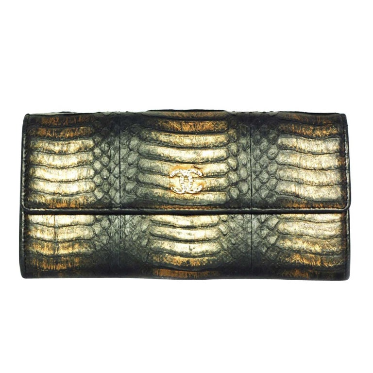 CHANEL Black And Gold Python Long Wallet 1