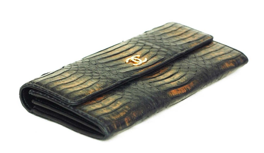 CHANEL Black And Gold Python Long Wallet 2