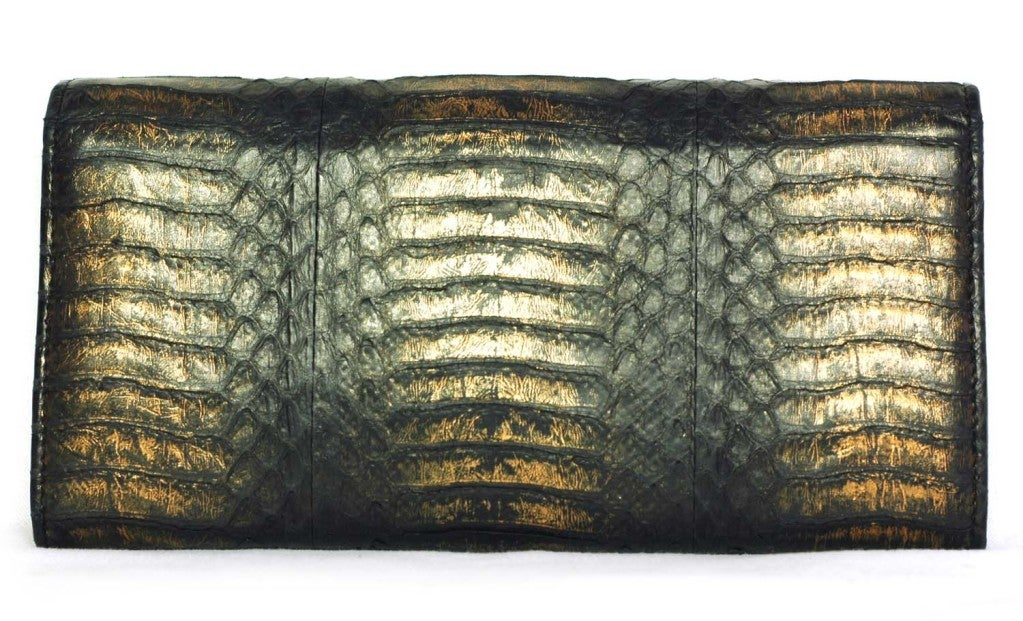 CHANEL Black And Gold Python Long Wallet 3