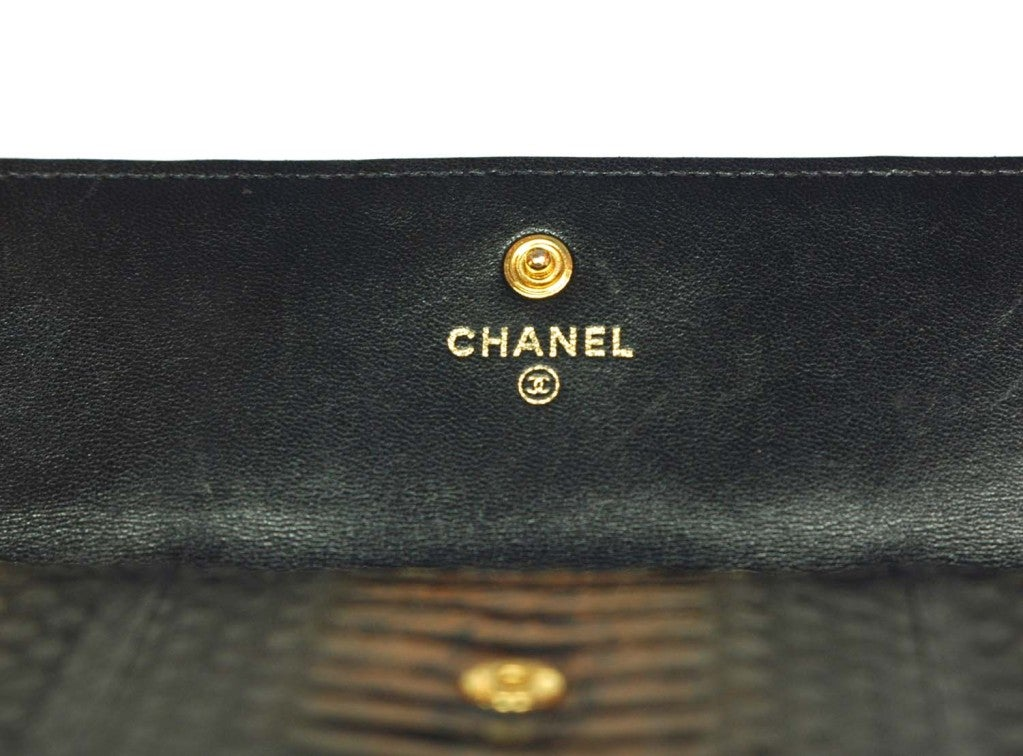 CHANEL Black And Gold Python Long Wallet 4