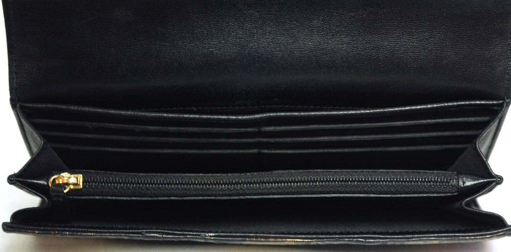 CHANEL Black And Gold Python Long Wallet 7