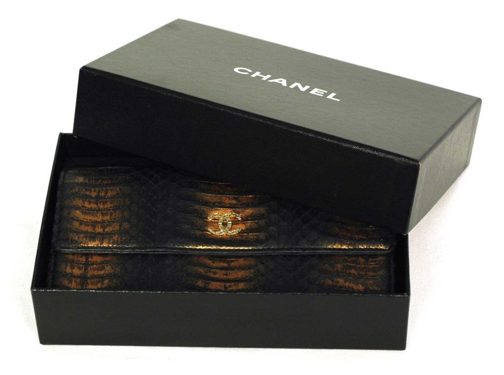 CHANEL Black And Gold Python Long Wallet 8