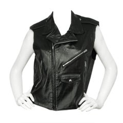 STEPHEN SPROUSE '84 Black Leather Vintage Vest with Zippers sz S