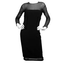 TOM FORD Black Sheer Top Longsleeve Cocktail Dress