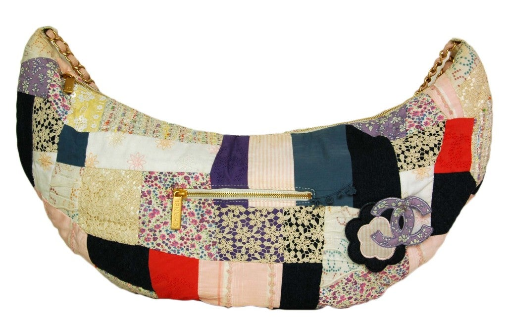 Chanel Multi Color Fabric Patchwork Hobo Bag At 1stdibs