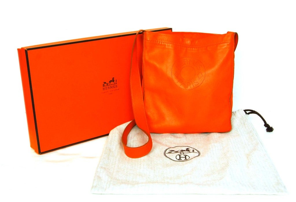 faux birkin - HERMES Orange Leather Perforated 'Clou De Selle' Crossbody Bag at ...
